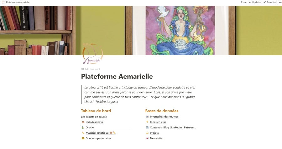 Page d'accueil Notion