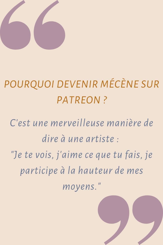 Pourquoi soutenir une artiste sur Patreon