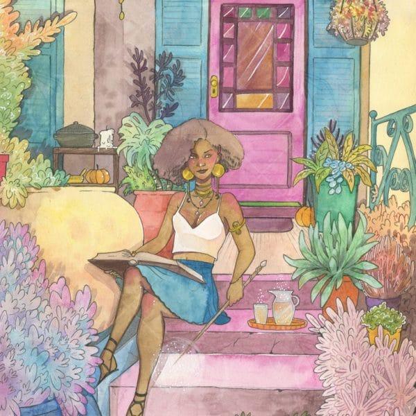 Aquarelle originale - La maison de la sorcière - Aemarielle