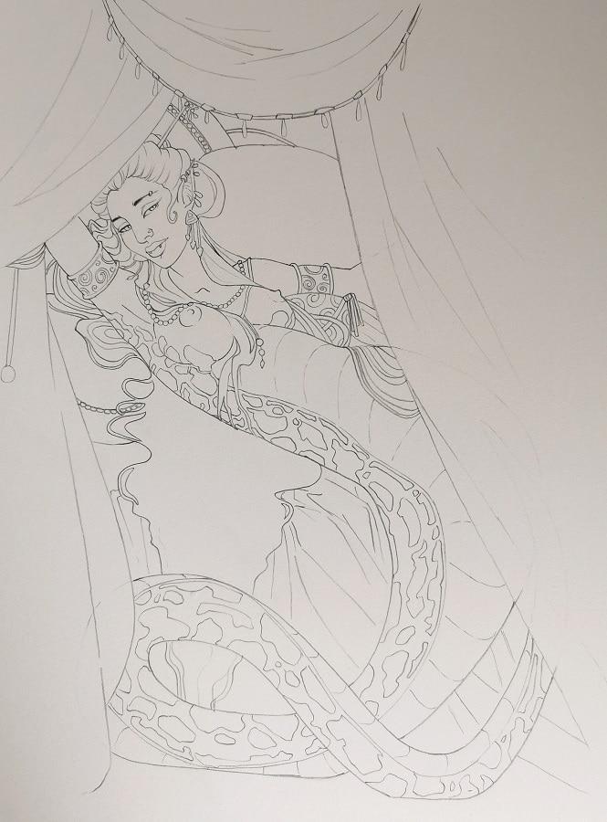 La femme-serpent crayonné- illustration fantastique