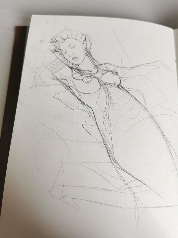 Illustration fantastique- la femme serpent - croquis