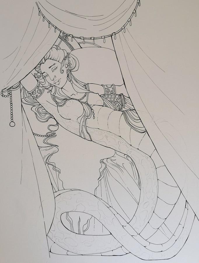 illustration fantastique- encrage de la femme serpent