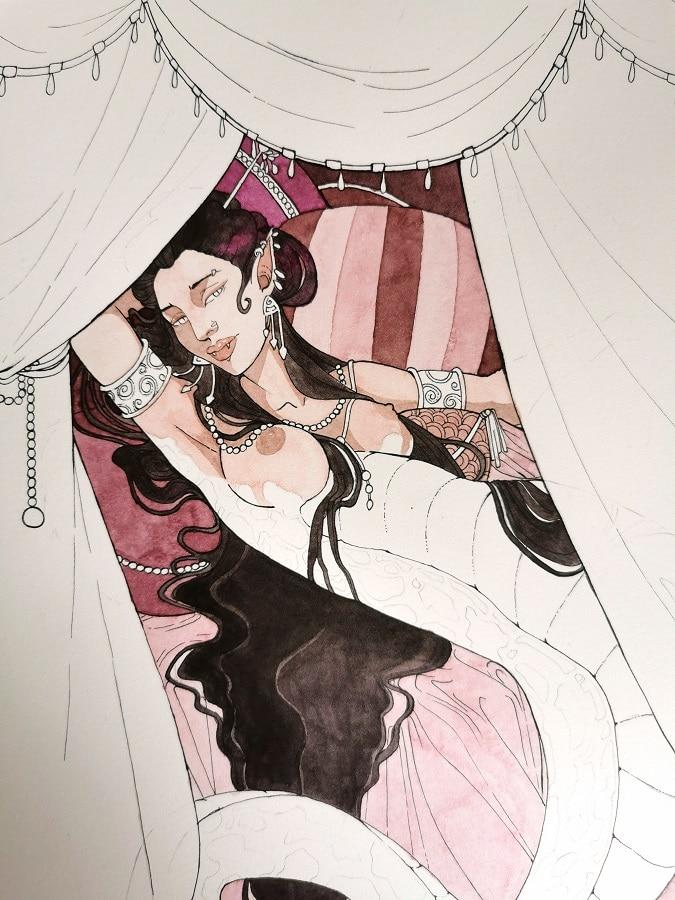 La femme-serpent - peinture aquarelle en cours