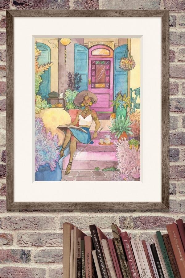 Idée déco - aquarelle originale - La maison de la sorcière - Aemarielle