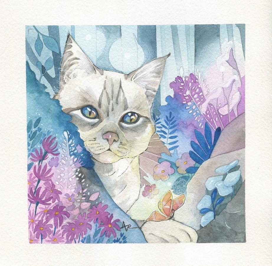Fantasy animalière - Un petit chat - aquarelle originale-Aemarielle