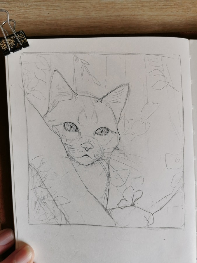 Fantasy animalière - croquis petit chat- aemarielle