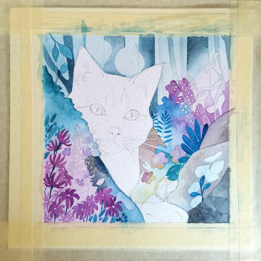 fantasy animalière - petit chat et papillon- Aemarielle