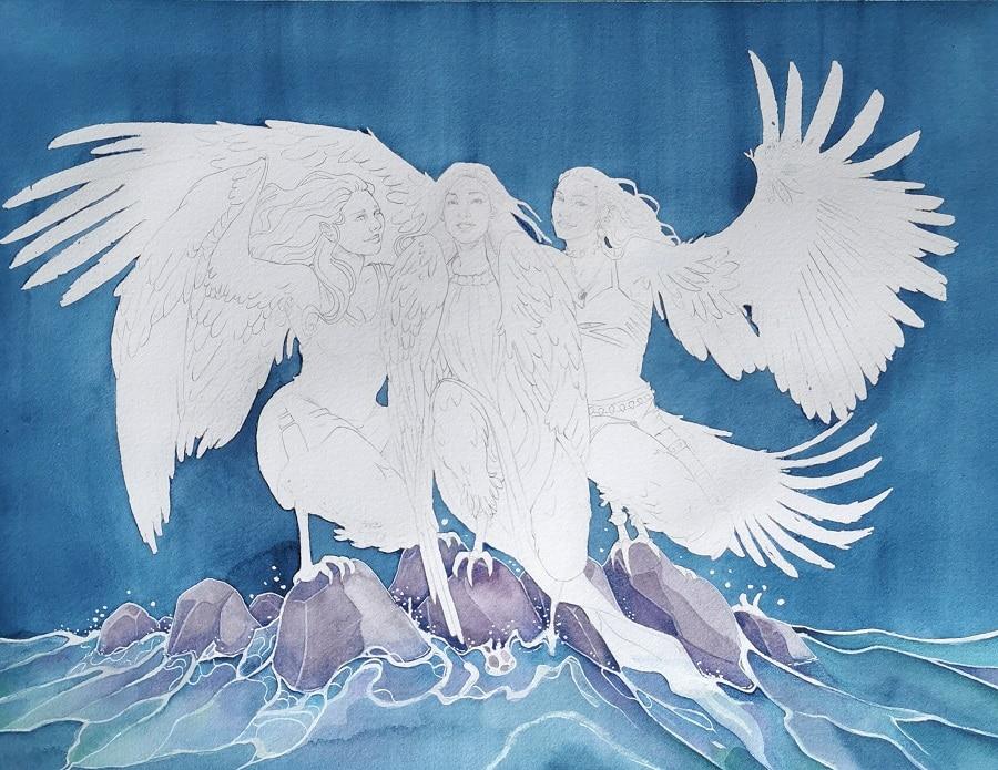 Les harpies- fond aquarelle