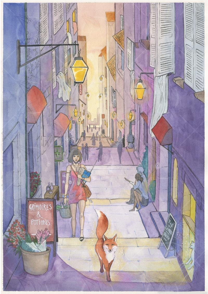 Sorcière moderne- la sorcière et le renard - aquarelle par Aemarielle