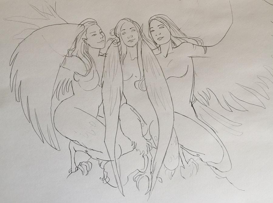 Croquis recherche des harpies - la composition du cadeau de mariage - Aemarielle