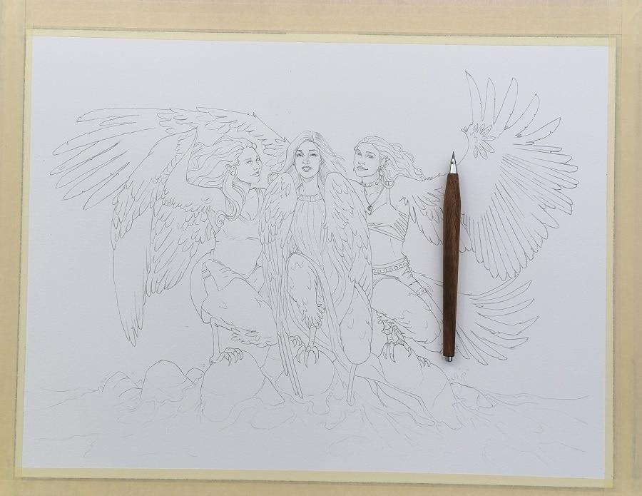 Dessin au propre - les Harpies-cadeau de mariage