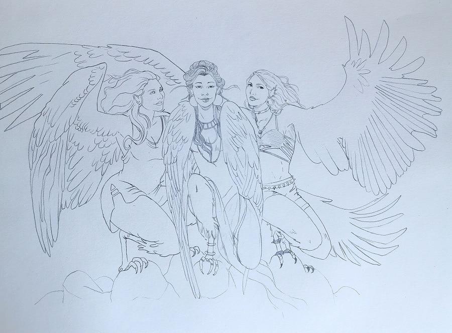 Le design des personnages des Harpies- illustration cadeau de mariage