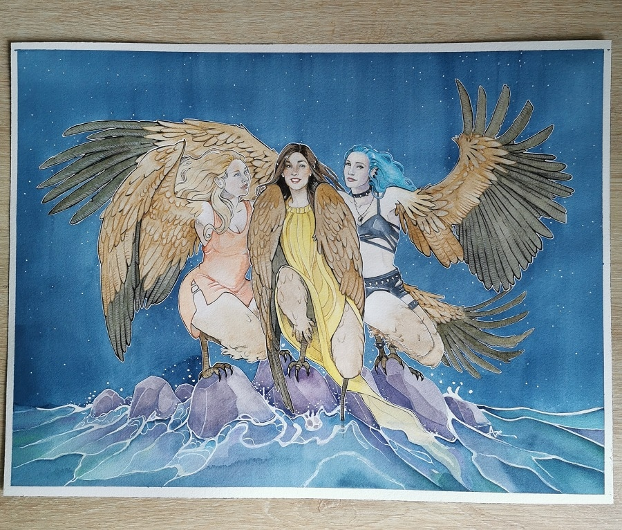 Les harpies- cadeau de mariage à l'aquarelle