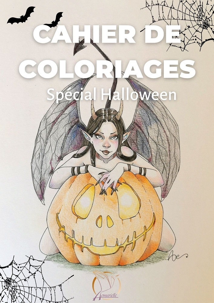Couverture du cahier de coloriage spécial Halloween pour colorier les modèles