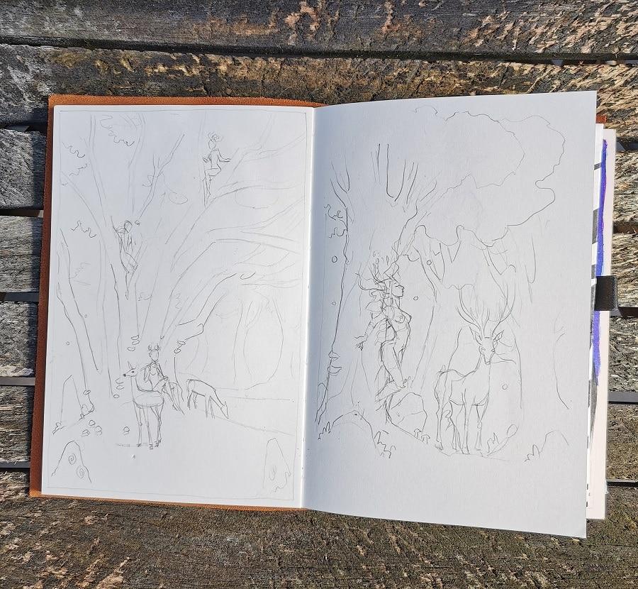 Brouillons dans mon carnet à dessin