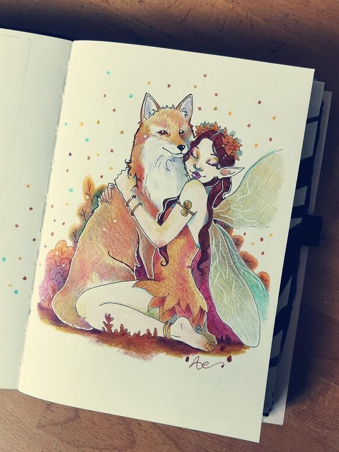 Fée et renard aux crayons de couleurs - carnet à dessin