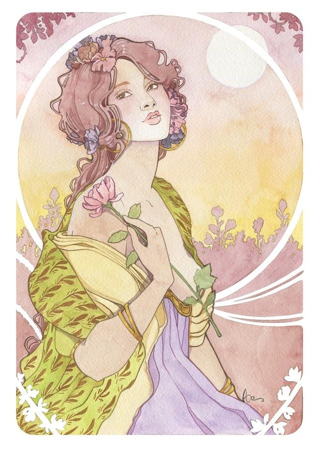 Une fleur à la main - carte postale A6- Art nouveau