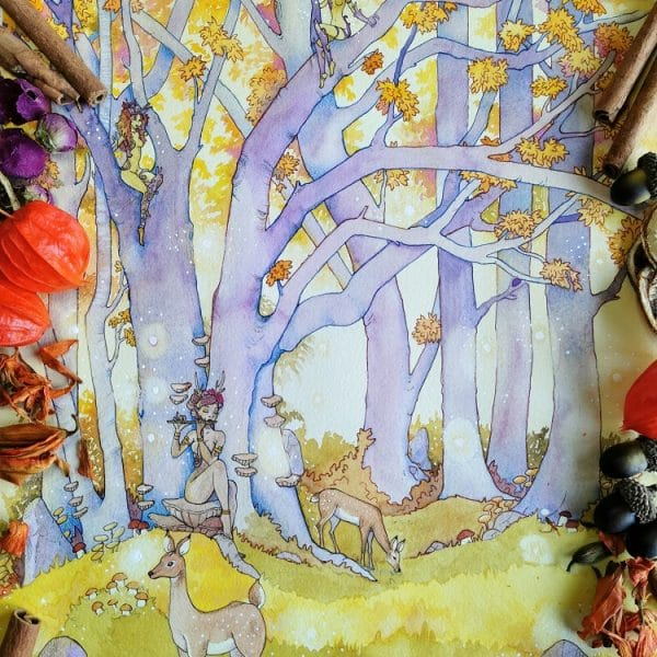 Aquarelle d'automne- L'arbre aux esprits- dryades et nymphes autour d'un arbre