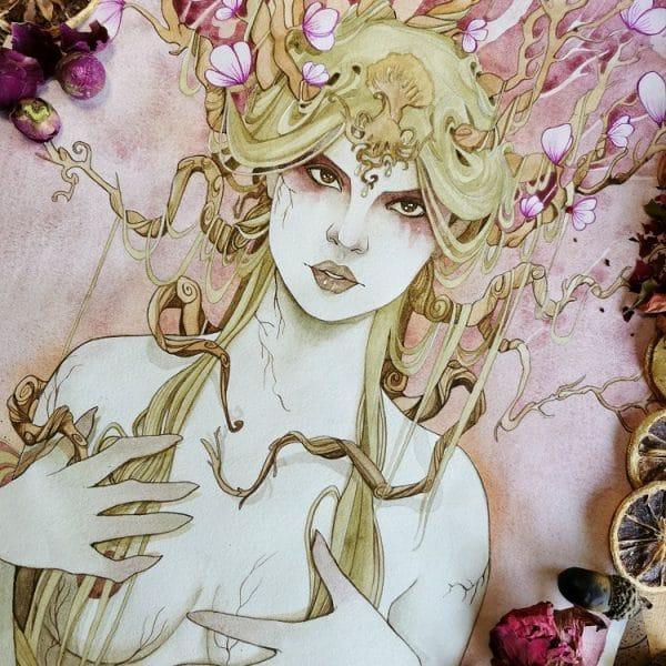 Aquarelle originale fantasy - Rhéa la mère des dieux